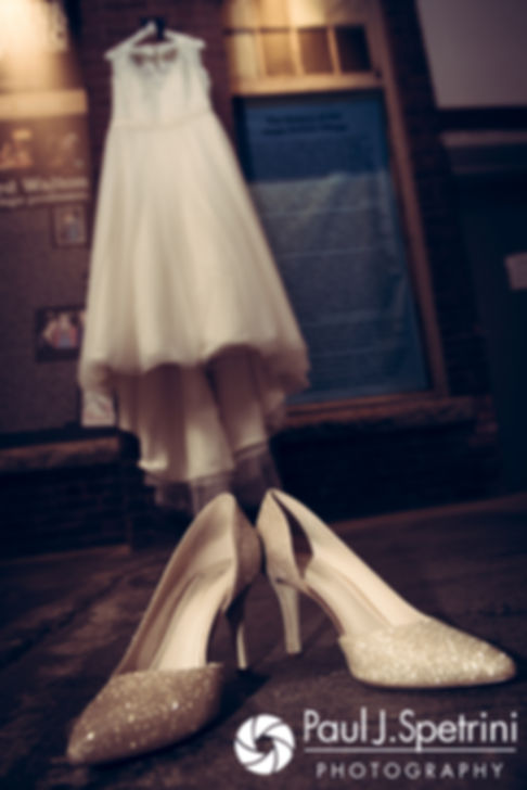 A look at Meridith's wedding dress and shoes prior to her May 2017 wedding ceremony at the Hope Artiste Village in Pawtucket, Rhode Island.