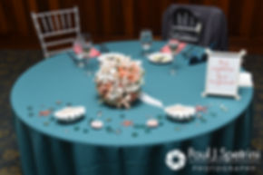 A look at the table decorations on display during Marissa and Paul's September 2016 wedding reception at the Aqua Blue Hotel in Narragansett, Rhode Island.