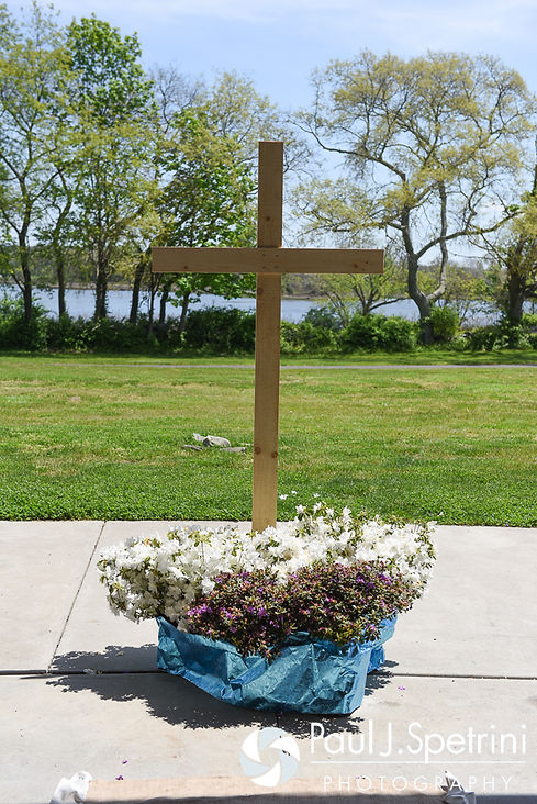 A look at the hand-made cross on display at the ceremony site for Krystal and Ian's May 2016 wedding at Colt State Park in Bristol, Rhode Island.