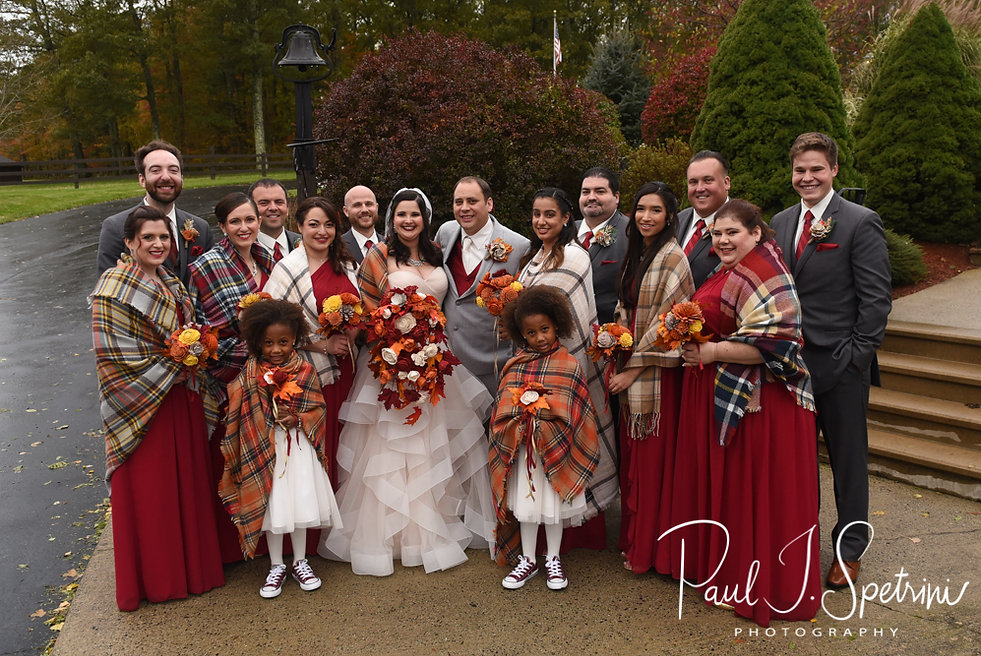 Rich and Makayla pose for a photo with their wedding party following their October 2018 wedding ceremony at Zukas Hilltop Barn in Spencer, Massachusetts.