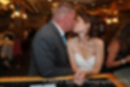 Justin and Jamie Bolani share a kiss during their wedding reception in Bristol, Rhode Island in June 2015.