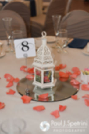 A look at the centerpieces at Michelle and Eric's May 2016 wedding at Hillside Country Club in Rehoboth, Massachusetts.