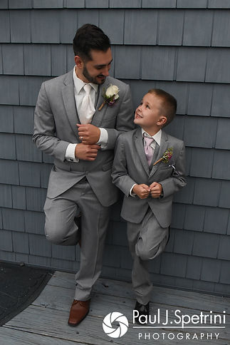 John poses for a formal photo with his son following his September 2017 wedding ceremony at Colt State Park in Bristol, Rhode Island.