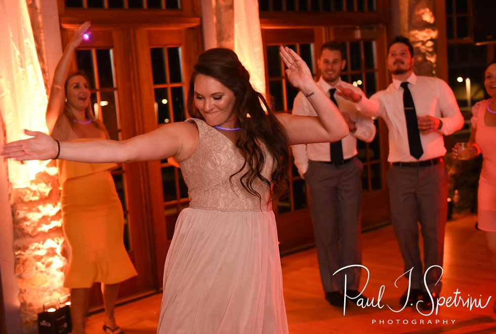 Guests dance during Nicole & Dan's September 2018 wedding reception at The Towers in Narragansett, Rhode Island.