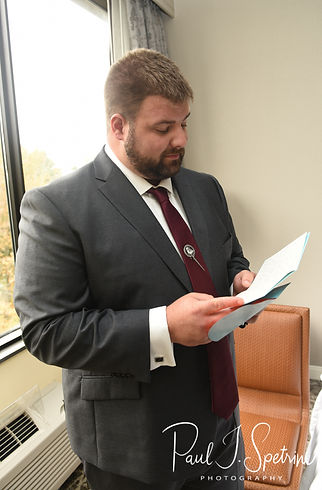 Steve reads a letter prior to his October 2018 wedding ceremony at The Villa at Ridder Country Club in East Bridgewater, Massachusetts.