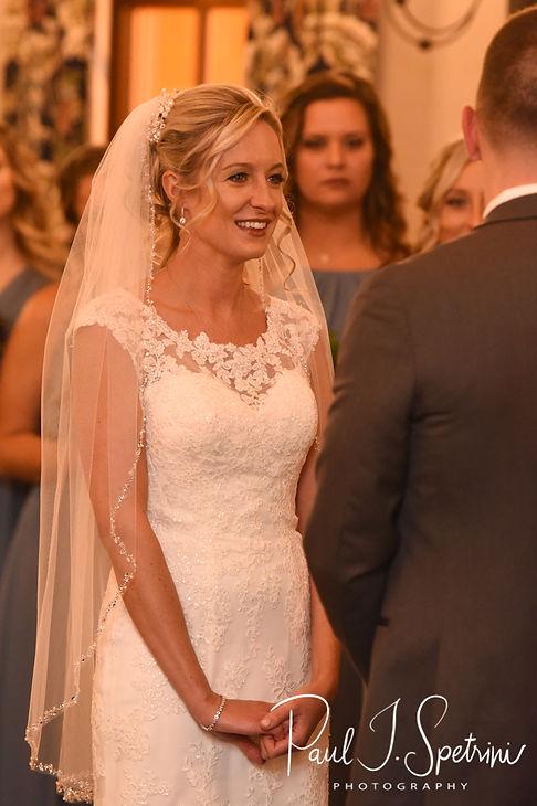 Nicole looks at Kurt during her November 2018 wedding ceremony at the Publick House Historic Inn in Sturbridge, Massachusetts.