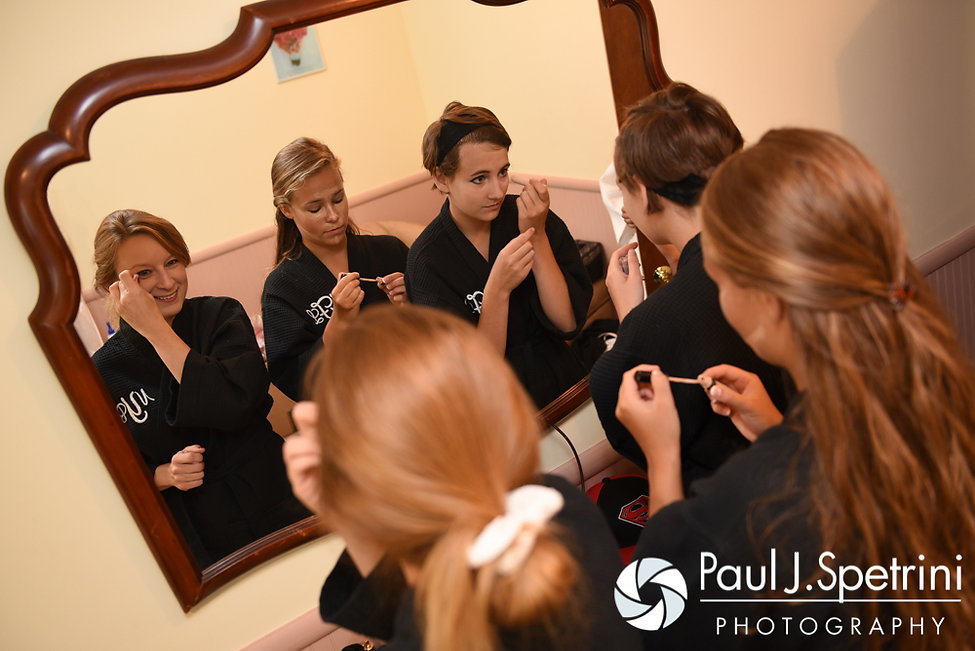 Heather's bridesmaids fix their makeup prior to her July 2016 wedding at Crystal Lake Golf Club in Burrillville, Rhode Island.