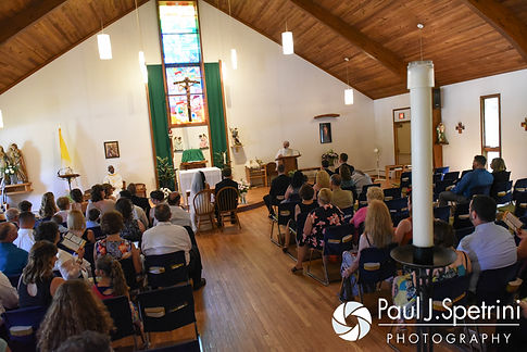 A look at the church during Justin and Lauryn's during July 2016 wedding at St. Paul the Apostle Catholic Church in Foster, Rhode Island.