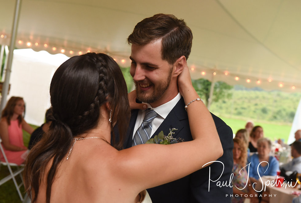 Karolyn & Ethan dance during their August 2018 wedding reception at a private residence in Sterling, Connecticut.