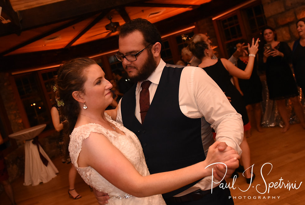 Rob & Allie dance during their October 2018 wedding reception at The Towers in Narragansett, Rhode Island.