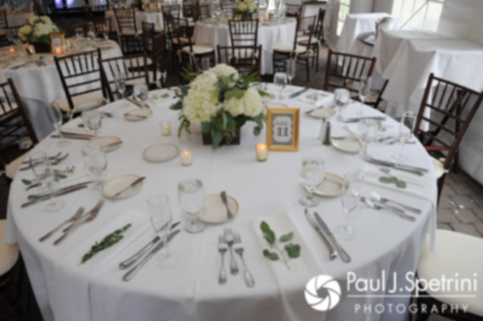 A look at the table decorations prior to Jennifer and Bruce's August 2017 wedding reception at The Inn at Mystic in Mystic, Connecticut.