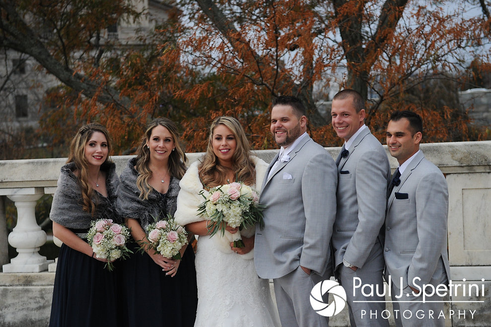 Nathan and Amy pose for a formal photo with members of their wedding party at the Rhode Island Statehouse prior to their November 2017 wedding reception at Quidnessett Country Club in North Kingstown, Rhode Island.