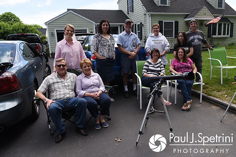 Melissa poses for a photo with friends and family members prior to her May 2017 bridal prep session at her mother's home in Bristol, Rhode Island.