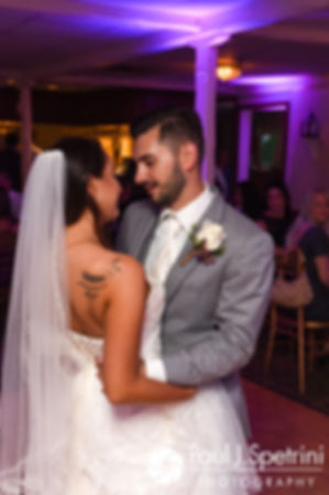 Stacey and John share their first dance during their September 2017 wedding reception in Warren, Rhode Island.