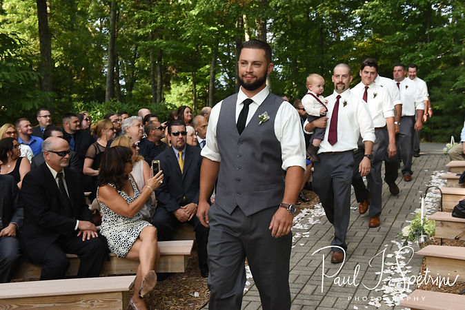 Gabe walks down the aisle during his September 2018 wedding ceremony at Crystal Lake Golf Club in Mapleville, Rhode Island.