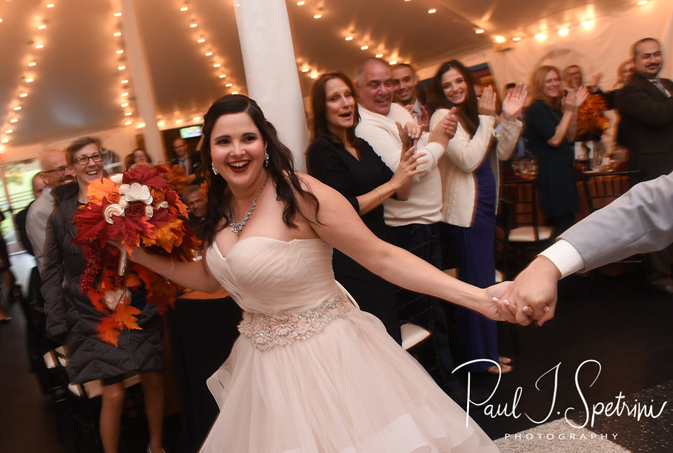 Makayla walks in during her October 2018 wedding wedding reception at Zukas Hilltop Barn in Spencer, Massachusetts.