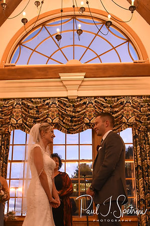 Nicole and Kurt listen to their officiant during their November 2018 wedding ceremony at the Publick House Historic Inn in Sturbridge, Massachusetts.