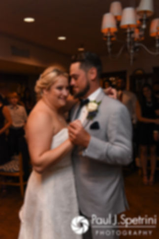 Jennifer and Robert share their first dance during their September 2017 wedding reception at Oceanside at the Pier in Narragansett, Rhode Island.