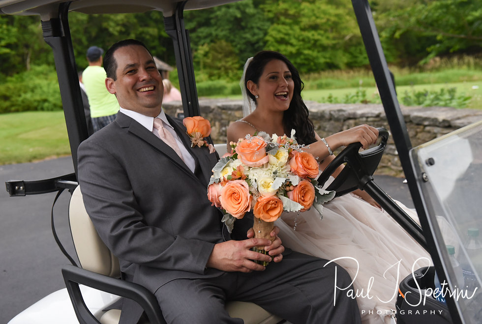 Stephanie and Jacob talk a golf cart to their formal photos following their June 2018 wedding ceremony at Foster Country Club in Foster, Rhode Island.