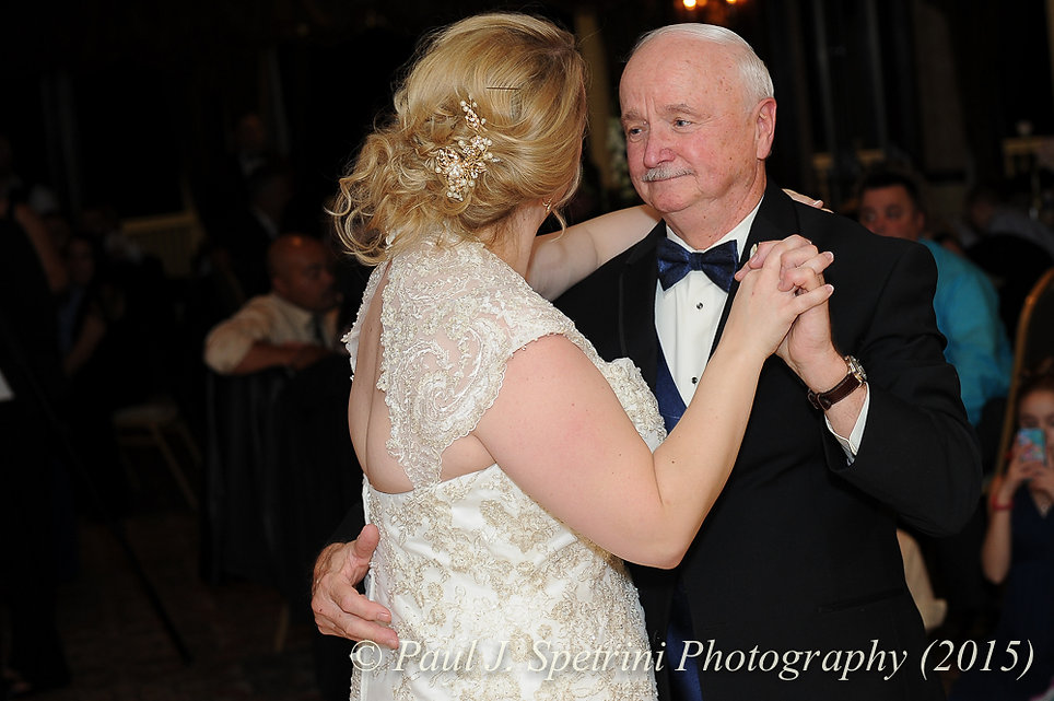 Kerry and her dad dance at her fall wedding at Quidnessett Country Club in North Kingstown, Rhode Island on October 23rd, 2015.