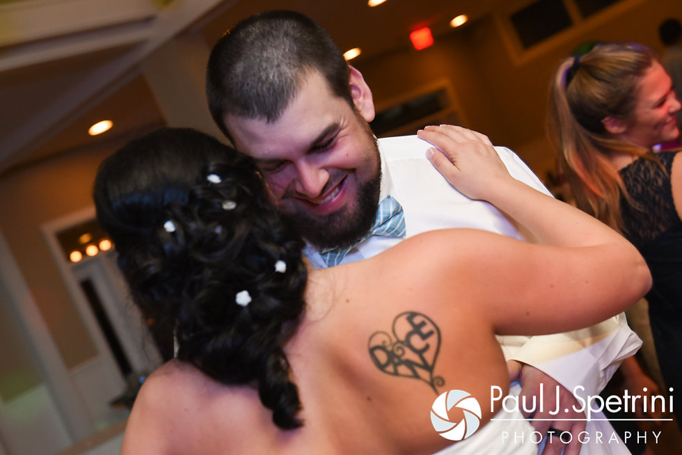 Kelly and Brian dance during their November 2016 wedding reception at the Bay Pointe Club in Buzzards Bay, Massachusetts.