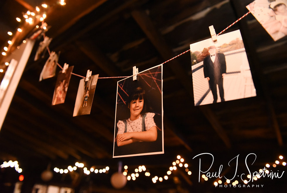 Photos of Adam & Ashley are on display during their September 2018 wedding reception at Stepping Stone Ranch in West Greenwich, Rhode Island.