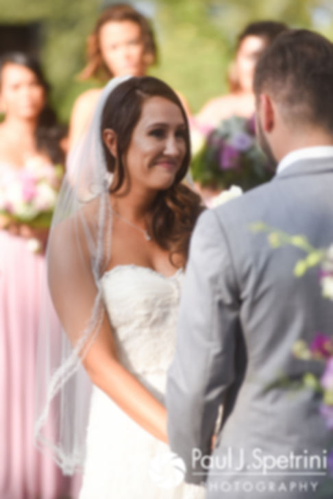 Stacey smiles while looking at John during her September 2017 wedding ceremony at Colt State Park in Bristol, Rhode Island.