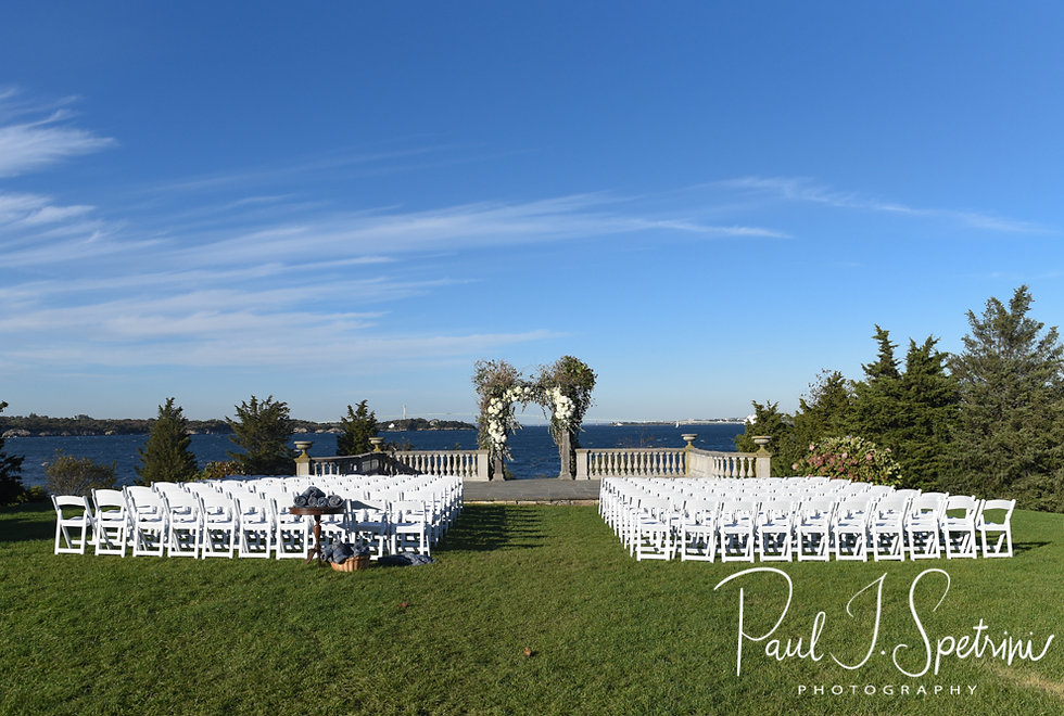 A look at the ceremony site prior to David & Whitney's October 2018 wedding ceremony at Castle Hill Inn in Newport, Rhode Island.