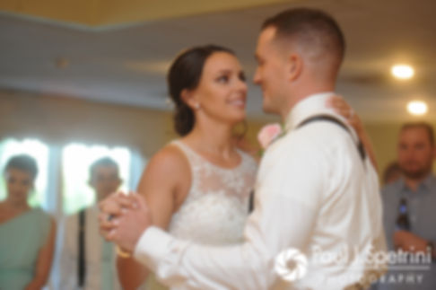 Sean and Cassie share their first dance during their July 2017 wedding reception at Rachel's Lakeside in Dartmouth, Massachusetts.