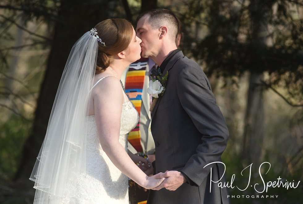 Nate & Kaytii kiss during their May 2018 wedding ceremony at Meadowbrook Inn in Charlestown, Rhode Island.