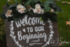 A sign welcomes guests to Amanda & Justin's November 2018 wedding ceremony at Five Bridge Inn in Rehoboth, Massachusetts.