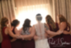 Justine and her bridesmaids pose for a photo prior to her October 2018 wedding ceremony at Twelve Acres in Smithfield, Rhode Island.