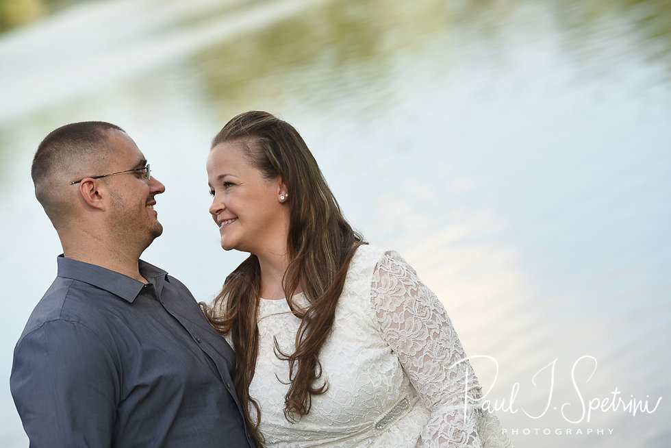 Becky & Doug pose for a photo during their September 2018 engagement session at Roger Williams Park in Providence, Rhode Island.