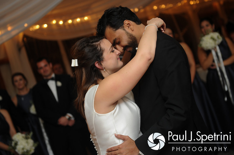 Nicole and Vishesh share their first dance during their October wedding reception at the Castle Hill Inn in Newport, Rhode Island.