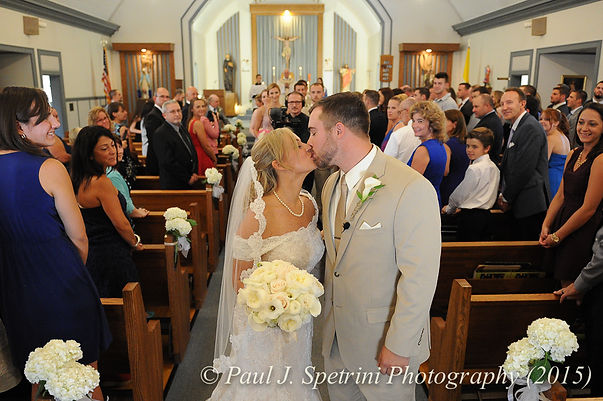 A view of Justin and Jamie Bolani's ceremony at Prescott Farm in Portsmouth, Rhode Island in June 2015.