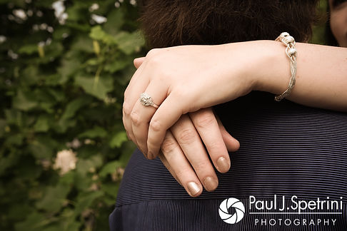 Allison shows off her engagement ring at the Roger Williams Park Casino in Providence, Rhode Island during her June 2017 engagement photo session.