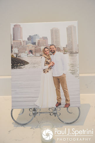 A look at a framed photograph on display during Nashua and Nader's July 2017 wedding reception at Belle Mer in Newport, Rhode Island.