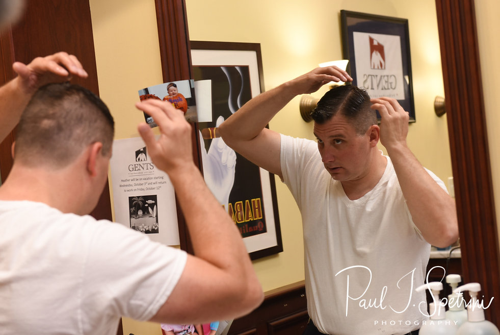 Brian fixes his hair prior to his September 2018 wedding ceremony, at Gents Barbershop and Spa in Cranston, Rhode Island.