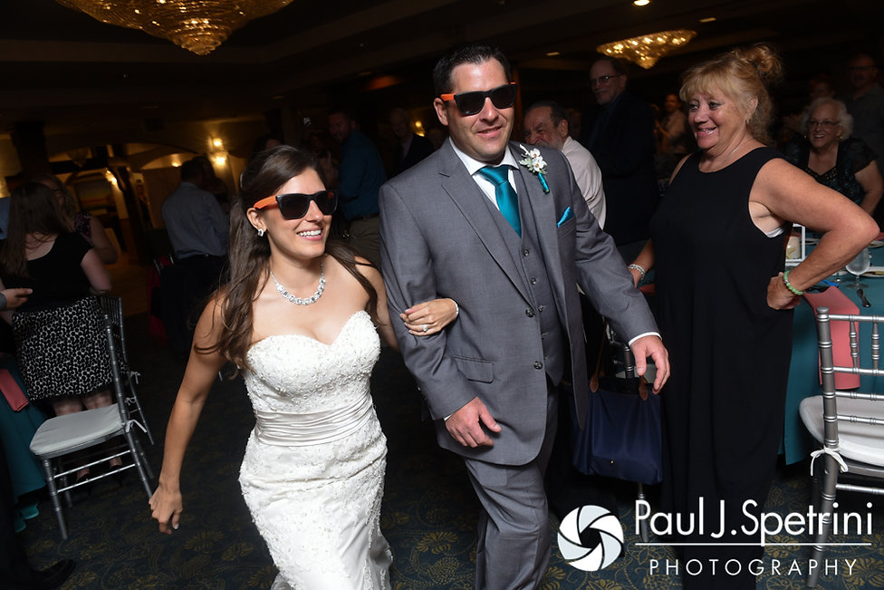 Marissa and Paul enter their September 2016 wedding reception at the Aqua Blue Hotel in Narragansett, Rhode Island.