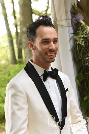 Joe smiles as Kendra arrives during his May 2018 wedding ceremony at Crystal Lake Golf Club in Mapleville, Rhode Island.