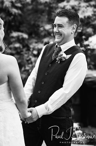 Josh laughs during his September 2018 wedding ceremony at their home in Coventry, Rhode Island.