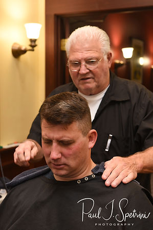 Brian gets a haircut prior to his September 2018 wedding ceremony, at Gents Barbershop and Spa in Cranston, Rhode Island.