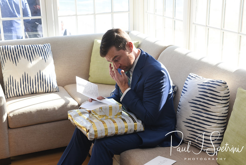 David reacts to a letter from Whitney prior to his October 2018 wedding ceremony at Castle Hill Inn in Newport, Rhode Island.