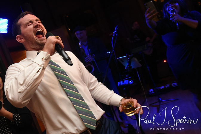 David sings during his October 2018 wedding ceremony at Castle Hill Inn in Newport, Rhode Island.