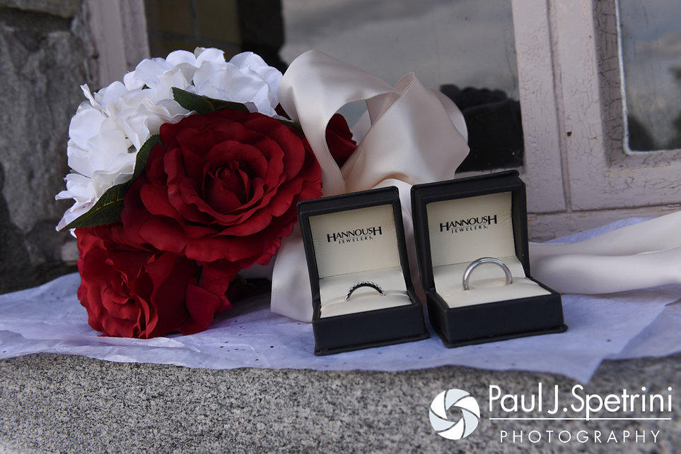 A look at the rings for Amanda and Chris' summer wedding at the Quabbin Reservoir Observation Tower in Belchertown, Massachusetts on July 2nd, 2016.