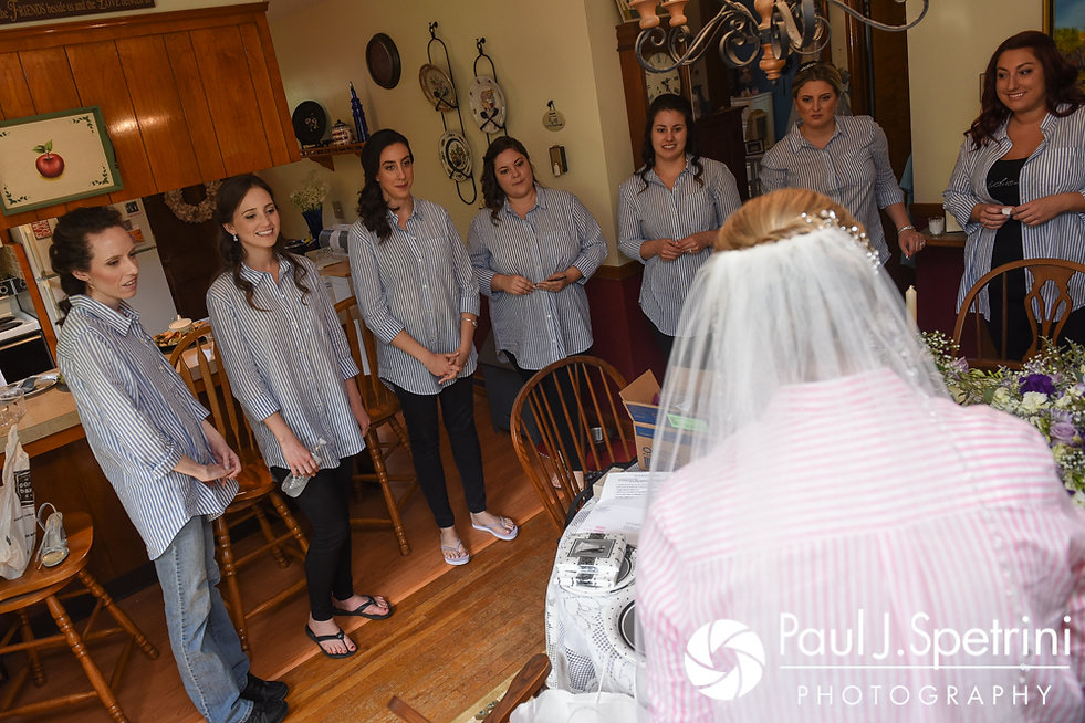 Melissa's bridesmaids surprise her with a gift during her May 2017 bridal prep session at her mother's home in Bristol, Rhode Island.