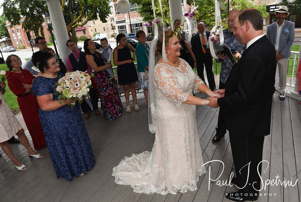 Patti smiles during her August 2018 wedding ceremony at the Walter J. Dempsey Memorial Bandstand in Norwood, Massachusetts.