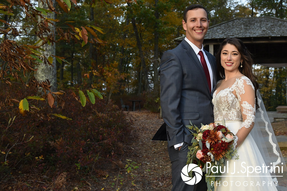 Keiran and Jessica pose for a formal photo prior to their October 2017 wedding reception at Crystal Lake Golf Club in Mapleville, Rhode Island.