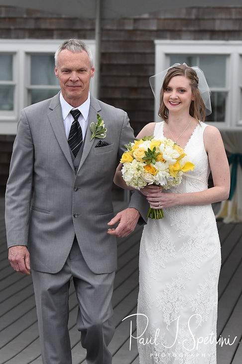 Amber walks down the aisle with her father during her June 2018 wedding ceremony at North Beach Clubhouse in Narragansett, Rhode Island.
