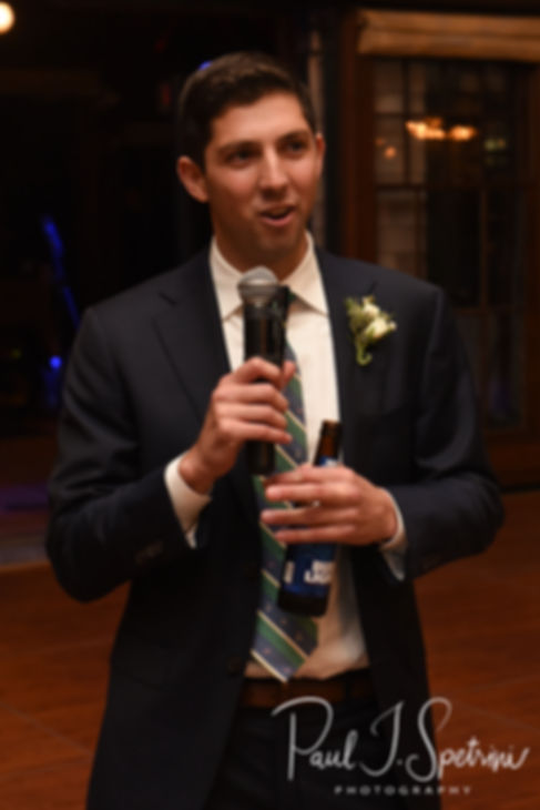 The best man gives a speech during David & Whitney's October 2018 wedding reception at Castle Hill Inn in Newport, Rhode Island.